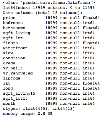 table showing basic info on the dataset after cleaning