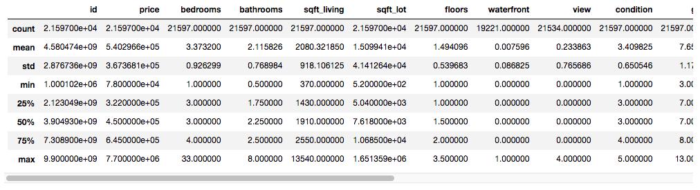 screenshot of summary statistics on the dataset