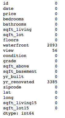 table showing counts of missing values. there are missing values in the waterfront, view, and year-renovated columns
