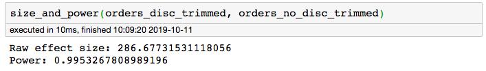 screenshot of function output
