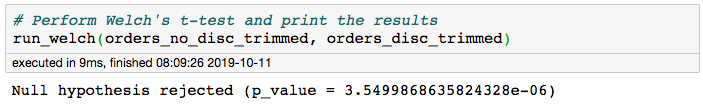 screenshot showing a line of code and its printout, which says null hypothesis rejected